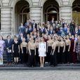 La princesse Elisabeth de Belgique, duchesse de Brabant, lors de la célébration de son 18e anniversaire au palais royal à Bruxelles le 25 octobre 2019.