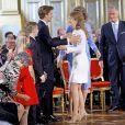 La princesse Elisabeth de Belgique, duchesse de Brabant, avec ses frères (Gabriel et Emmanuel) et sa soeur (Eléonore) lors de la célébration de son 18e anniversaire au palais royal à Bruxelles le 25 octobre 2019.