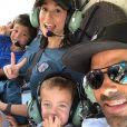 Tony Parker avec sa femme Axelle Francine et leurs deux fils Josh et Liam lors d'un vol en hélicoptère à la station Villars de Lans, le 26 juillet 2019.