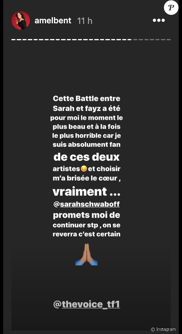 The Voice : Amel Bent réagit sur Instagram après avoir éliminé Sarah Schawb.