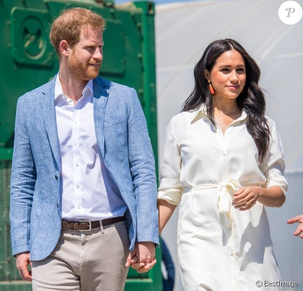 "Le prince Harry et Meghan Markle, duchesse de Sussex, visitant l'association ""Yes"" (Youth Employment Service) à Johannesburg en Afrique du Sud le 2 octobre 2019."