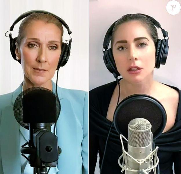 """Céline Dion, Lady Gaga et Andra Bocelli chantent pour le concert """"One World: Together at Home"""" organisé par l'OMS, le 18 avril 2020."""