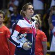 Amélie Mauresmo lors de la finale de la Fed Cup entre la République tchèque et la France à Strasbourg le 13 novembre 2016. Au lendemain de cette cruelle défaite, la capitaine des Bleues annonçait qu'elle quittait son poste et révélait être enceinte de son deuxième enfant, un an après la naissance d'Aaron.