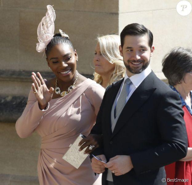Serena Williams et Alexis Ohanian - Les invités arrivent à la chapelle St. George pour le mariage du prince Harry et de Meghan Markle au château de Windsor, Royaume Uni, le 19 mai 2018.