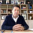 Christian Estrosi, le maire de Nice, durant un point presse depuis son domicile à Nice via l'application Zoom dans le cadre de mise en place de mesures barrières contre la propagation du Coronavirus Covid-19 le 6 avril 2019 © Bruno Bebert / Bestimage