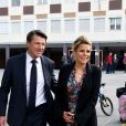 Christian Estrosi, le maire de Nice, et sa femme Laura Tenoudji Estrosi ont voté pour le 1er tour des élections municipales au collège Port Lympia à Nice le 15 mars 2020. © Bruno Bebert / Bestimage