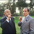 """Archives - Bernard Blier et Jean Poiret sur le tournage du film """"Je hais les acteurs"""". Le 25 mars 1986."""