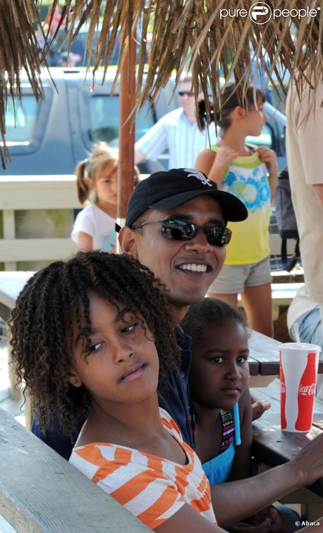 Barack Obama en vacances sur l'île de Martha's Vineyard aux Etats-Unis le 26 août 2009