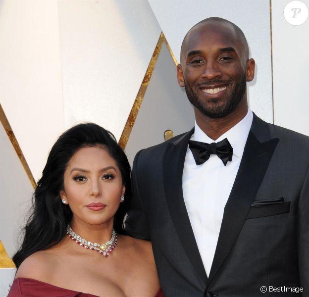 """Kobe Bryant (Oscar meilleur court métrage animé avec """"Dear Basketball"""") et sa femme Vanessa - Press room de la 90ème cérémonie des Oscars 2018 au théâtre Dolby à Los Angeles, Californie, Etats-Unis, le 4 mars 2018 -"""