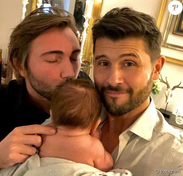 Christophe Beaugrand et Ghislain Gerin avec leur fils Valentin le 1er janvier 2020.