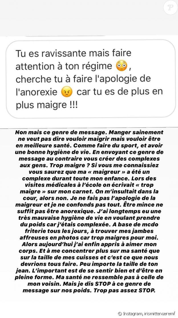 Iris Mittenaere évoque ses complexes sur Instagram, le 21 mai 2020.