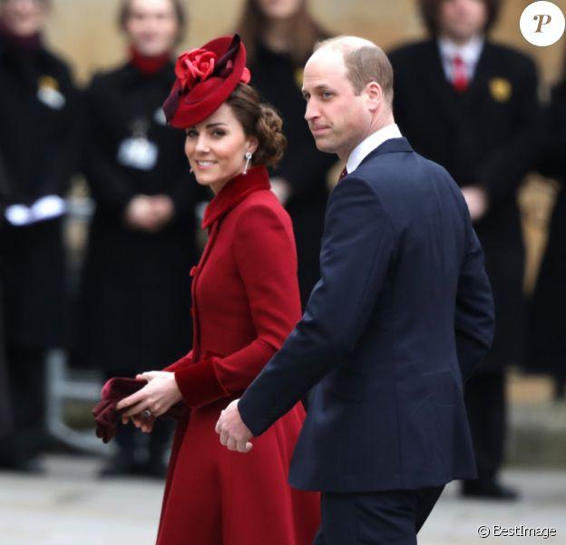 Le prince William, duc de Cambridge, et Kate Middleton, duchesse de Cambridge - La famille royale d'Angleterre lors de la cérémonie du Commonwealth en l'abbaye de Westminster à Londres, le 9 mars 2020.