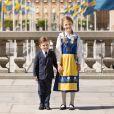 Le prince Oscar et la princesse Estelle de Suède photographiés au palais royal à Stockholm à l'occasion de la Fête nationale suédoise en juin 2020. ©Linda Broström/Cour royale de Suède