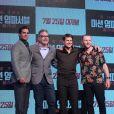 """Tom Cruise, Simon Pegg et Henry Cavill en promotion pour """"Mission: Impossible Fallout"""" à Séoul, le 16 juillet 2018."""