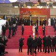 """Exclusif - Pierre Lescure, August Diehl et Valérie Pachner avec Thierry Frémaux - Arrivée des people à la montée des marches du film """"A Hidden Life"""" lors du 72e Festival International du Film de Cannes, le 19 mai 2019."""