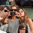 Karine Le Marchand et sa fille Alya, Stéphane Plaza - People aux Internationaux de France de tennis de Roland Garros à Paris, le 29 mai 2014.