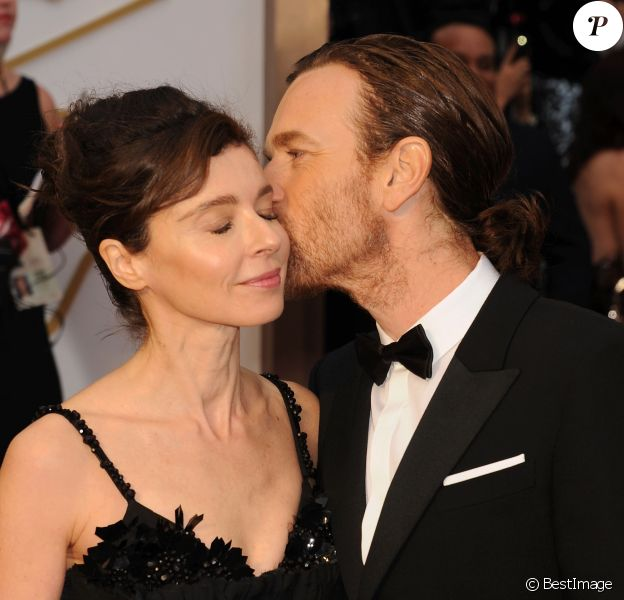 Ewan McGregor et son ex-femme Eve Mavrakis - 86ème cérémonie des Oscars à Hollywood, le 2 mars 2014.