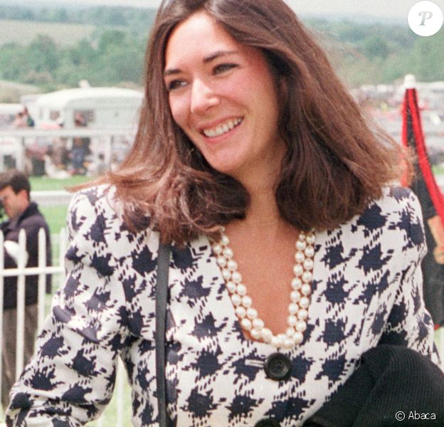 Ghislaine Maxwell, fille de Robert Maxwell et amie de Jeffrey Epstein, au derby d'Epsom en juin 1991. ©PA Photos/ABACAPRESS.COM