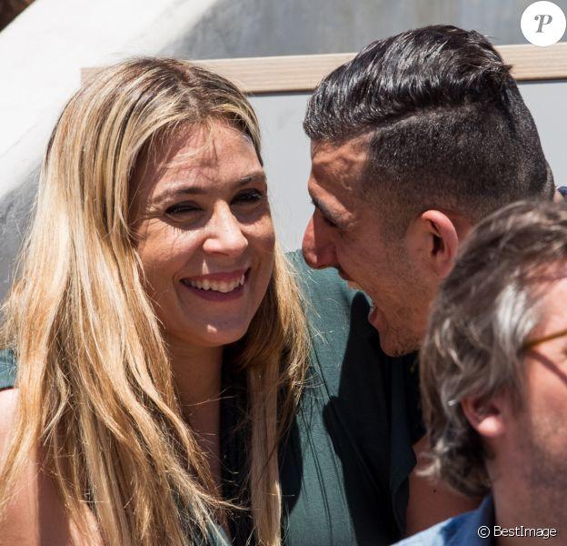 Marion Bartoli et son nouveau compagnon le joueur de football belge Yahya Boumediene dans les tribunes lors des internationaux de tennis de Roland Garros à Paris, France, le 2 juin 2019. © Jacovides-Moreau/Bestimage