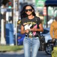 Naya Rivera est allée se faire pomponner dans un salon de manucure/pédicure à Los Angeles, le 7 août 2019  Naya Rivera returns for her car at the carwash after getting her nails done wearing a Rolling Stones vintage tee, a Gucci belt and distressed denim with strappy heels. 7th august 201907/08/2019 - Los Angeles