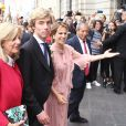 Le prince Christian de Hanovre entouré de sa mère Chantal Hochuli et sa belle-mère Elizabeth Foy Vasquez lors de son mariage avec Alessandra de Osma à Lima au Pérou le 16 mars 2018.