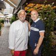 Exclusif - Le Chef Gérard Idoux et Gilles Muzas - Deuxième édition des Déjeuners d'Eté du restaurant le Récamier. Paris, le 16 Juillet 2020. ©Jack tribeca / Bestimage