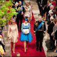 Les princesses Beatrice et Eugenie, et leur père le prince Andrew, au mariage du prince William et Kate Middleton à Londres, en 2011.
