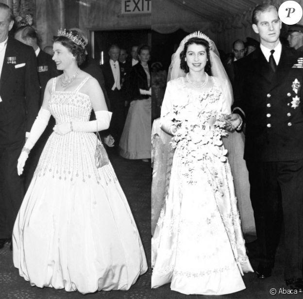 La reine Elizabeth portant sa robe Norman Hartnell à Londres, en 1962 - La reine Elizabeth lors de son mariage avec le prince Philip en 1947, avec sa tiare préférée. La robe et la tiare ont été portées par sa petite-fille la princesse Beatrice pour son mariage, le 17 juillet 2020.