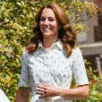 Kate Middleton lors d'une rencontre avec des travailleurs de santé mobilisés pendant la crise santiaire et soutenus par la Royal Foundation, le 23 juillet 2020 à Sandringham.