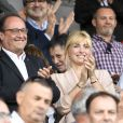 François Hollande et sa compagne Julie Gayet assistent au match de rugby du Top 14 opposant Brive (CAB) à Clermont (ASM) au stade Amédée-Domenech à Brive-la-Gaillarde, France, le 8 septembre 2019. © Anthony Bibard/Panoramic/Bestimage