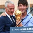 Didier et Dylan Deschamps durant l'inauguration du Stade de football Didier Deschamps à Cap d'Ail le 12 septembre 2018. © Bruno Bebert / Bestimage