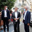 """Hubert Falco, maire de Toulon - Nicolas Sarkozy dédicace son livre """"Le temps des tempêtes"""" à la librairie Charlemagne à Toulon le 12 août 2020. © Valérie Le Parc / Nice Matin / Bestimage"""