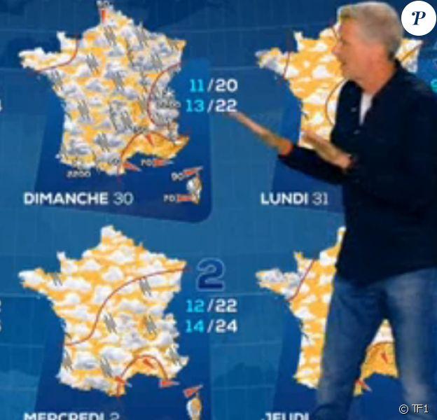 Denis Brogniart présente la météo sur TF1 avec Evelyne Dhéliat jeudi 27 août 2020