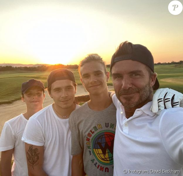 David Beckham et ses trois fils Romeo, Brooklyn et Cruz. Août 2020.