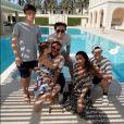 David, Victoria Beckham et leurs 4 enfants Brooklyn, Romeo, Cruz et Harper. Juin 2020.