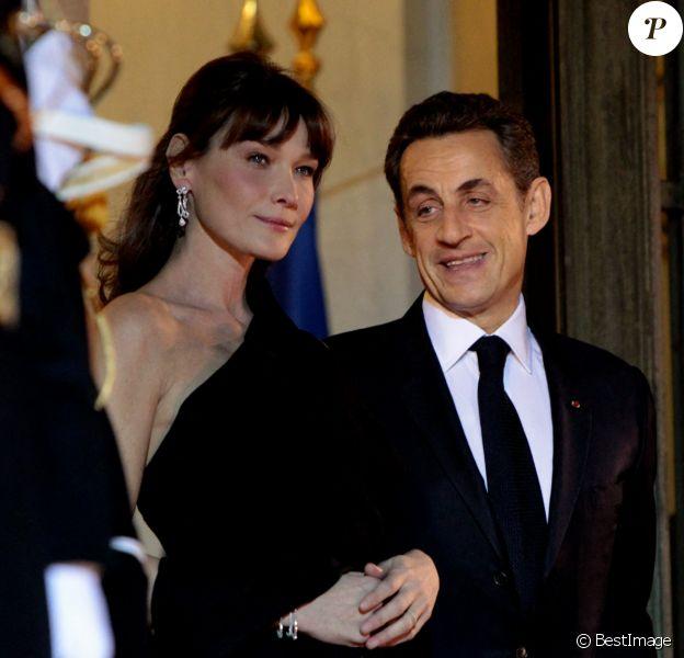 Nicolas Sarkozy et sa femme Carla Bruni-Sarkozy - Dîner d'Etat en l'honneur du président de Jacob Zuma, président de la République d'Afrique du Sud.