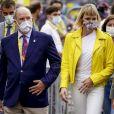 Albert de Monaco et son épouse la princesse Charlene au départ du Tour de France à Nice, le 29 août 2020.