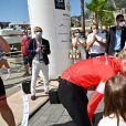 """La princesse Charlène de Monaco, le prince Albert II de Monaco, le prince Jacques de Monaco, marquis des Baux, et la princesse Gabriella de Monaco, comtesse de Carladès - La famille princière de Monaco à l'arrivée de la 3ème édition de la course """"The Crossing : Calvi-Monaco Water Bike Challenge"""". Monaco, le 13 septembre 2020. © Bruno Bebert/Bestimage"""