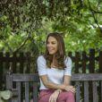 Catherine (Kate) Middleton, duchesse de Cambridge, lors d'une visite à Battersea Park, à Londres, alors qu'elle rencontrait des mères pour savoir comment elles se sont entraidées pendant l'épidémie de Coronavirus (COVID-19). Londres, 22 septembre 2020.
