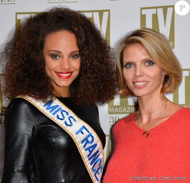 Exclusif - Alicia Aylies (Miss France 2017) et Sylvie Tellier - Soirée d'anniversaire des 30 ans de TV Magazine au Pavillon des Champs-Elysées à Paris. © Coadic Guirec/Bestimage