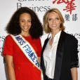 Alicia Aylies, miss France 2017 et Sylvie Tellier - Le Chinese Business Club célèbre la journée de la femme lors d'un déjeuner chez Potel & Chabot à Paris le 8 mars 2017. © Guirec Coadic / Bestimage