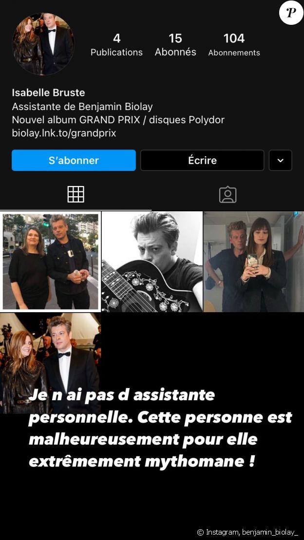 Benjamin Biolay a dénoncé cette femme se disant son assistante, sur Instagram.