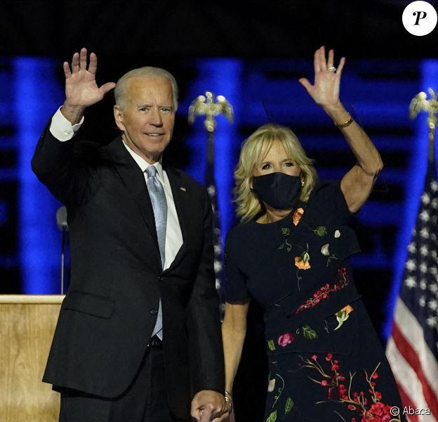 Le président-élu Joe Biden et la première-dame, Jill Biden, à Wilmington dans le Delaware. Discours de campagne. photo by Andrew Harnik/UPI/ABACAPRESS.COM
