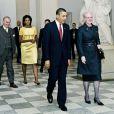 Barack et Michelle Obama avec la reine Margrethe de Danemark le 2/10/10