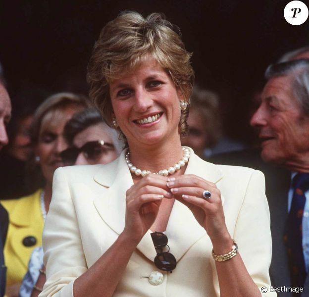 Diana à Wimbledon, à Londres, deux ans avant sa mort.