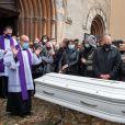 Le cercueil - Obsèques du rugbyman Christophe Dominici en l'église Saint-Louis de Hyères le 4 décembre 2020 © Patrick Carpentier / Bestimage