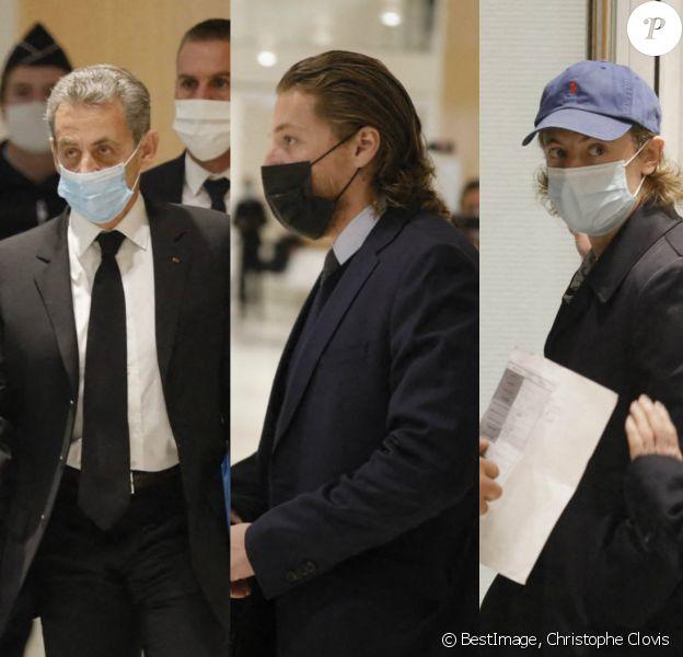 """""""Procès des écoutes"""" : Nicolas Sarkozy à la barre, ses fils Pierre et Jean en soutien au tribunal"""