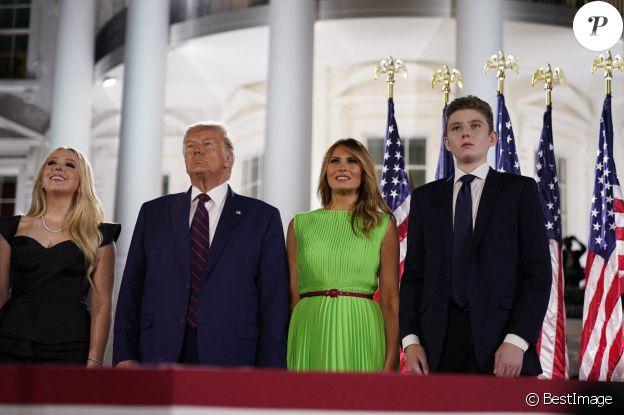 Tiffany Trump, Donald J. Trump, Melania Trump, Barron Trump - Donald Trump accepte officiellement l'investiture de son parti pour les prochaines élections lors du dernier jour de la Convention nationale républicaine à Washington, le 27 août 2020.