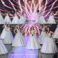 Les 29 Miss régionales défilent en robe bustier à paillettes lors de l'élection de Miss France 2021 sur TF1 le 19 décembre 2020
