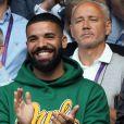 Drake est venu encourager son ex compagne S. Williams lors du championnat de Wimbledon à Londres, le 10 juillet 2018.